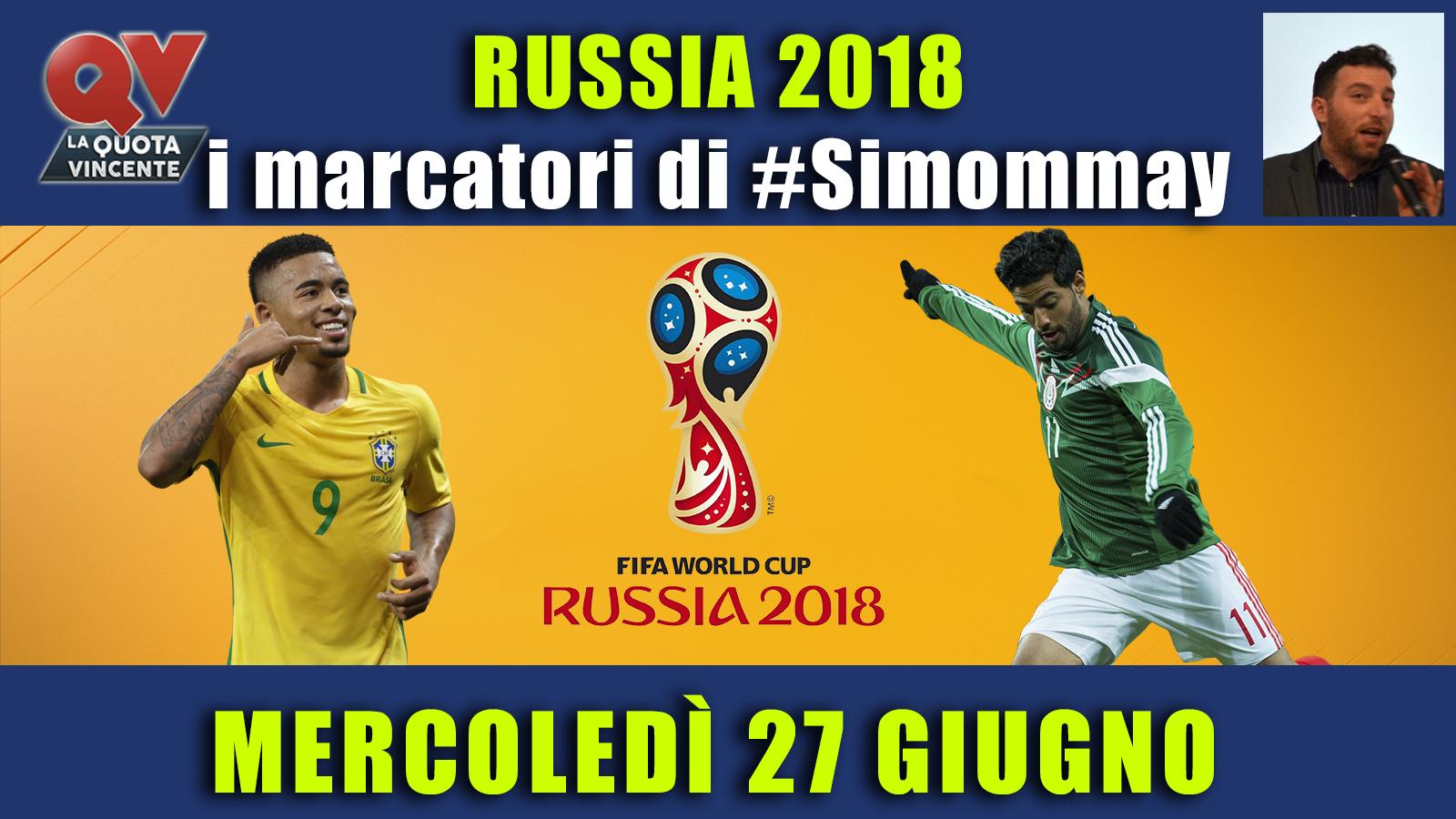Pronostici marcatori Mondiali 27 giugno: i marcatori di #simommay