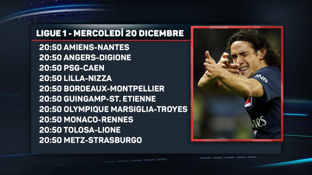 Le gare di Francia Ligue 1 di mercoledì 20 dicembre