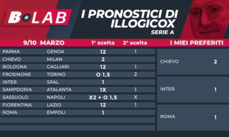 Pronostici di illogicox del 9/10 Marzo; con le tabelle di Serie A e Serie B, analisi e consigli scommesse quote betfair quote goldbet