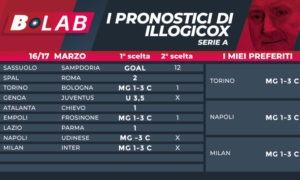 Pronostici di Illogicox del 16/17 marzo; con le tabelle di Serie A Serie B Bundesliga LaLiga scommesse quote goldbet betfair