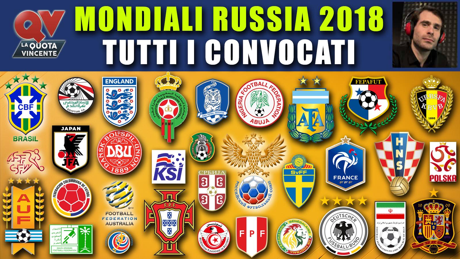 Convocati Mondiali Russia 2018: rose, obiettivi e quote antepost!