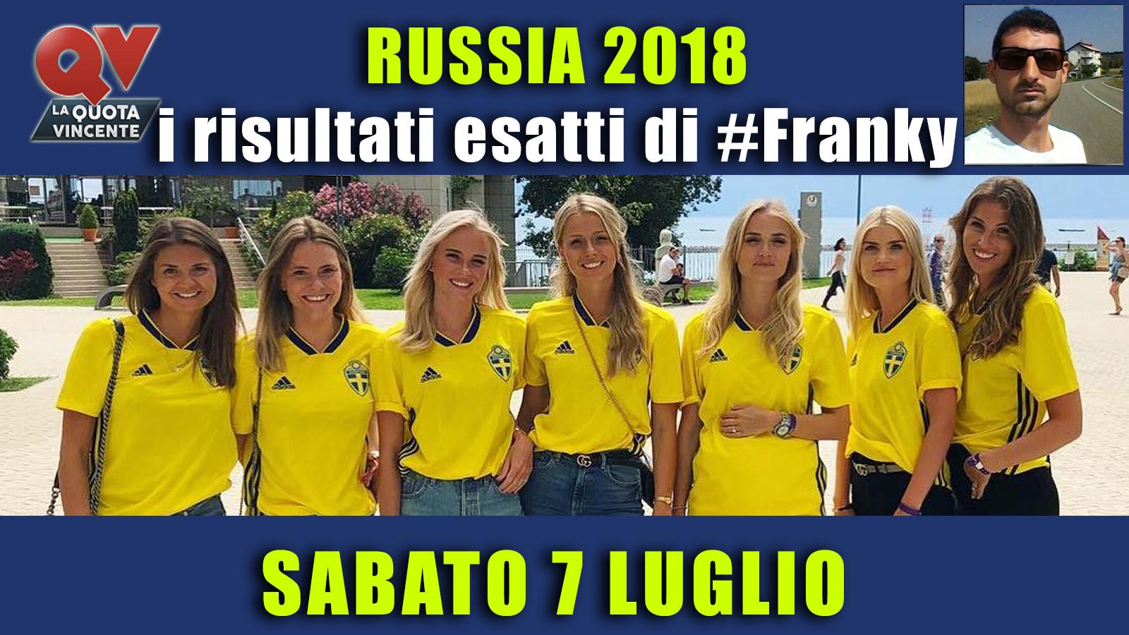 Pronostici risultati esatti Mondiali 7 luglio: le scelte di #FrankyDefa