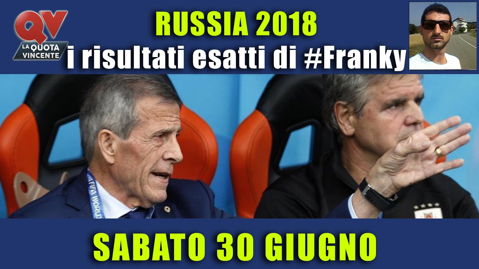 Pronostici risultati esatti Mondiali 30 giugno: le scelte di #FrankyDefa