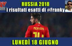 Pronostici risultati esatti Mondiali 18 giugno: le scelte di #FrankyDefa