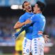 "Foto LaPresse - Gerardo Cafaro24/09/2016 , Napoli (Italia)Sport CalcioSSC Napoli vs AC ChievoVeronaCampionato italiano di Calcio Serie A TIM 2016/2017 - Stadio ""San Paolo""Nella foto: Gabbiadini e Callejon esultanoPhoto LaPresse - Gerardo CafaroSaturday 24th September 2016, Naples (Italy)Sport SoccerSSC Napoli vs AC ChievoVeronaItalian Football Championship League A TIM 2016/2017 - ""San Paolo"" Stadium In the picture: Exultation Napoli"