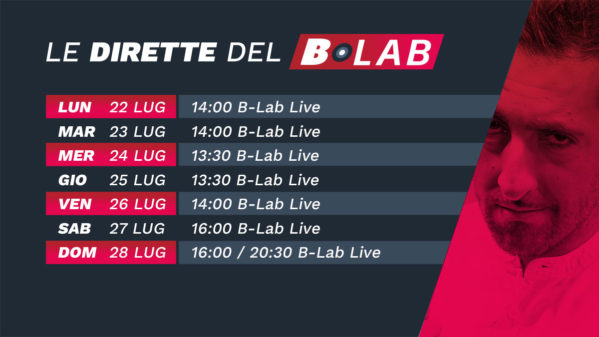 CALENDARIO SETTIMANALE B-LAB 22 LUG – 28 LUG 2019
