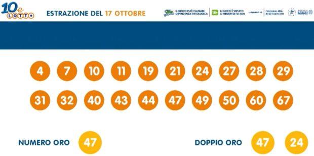 10 e Lotto Extra Estrazione 10 e Lotto ogni 5 minuti extra estrazioni del Lotto in diretta di oggi ventina vincente sabato 17 ottobre 2020 numero oro e doppio oro