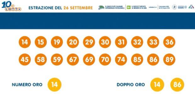 10 e Lotto ogni 5 minuti EXTRA estrazione del Lotto di oggi sabato 26 settembre 2020 ventina vincente numero oro doppio oro numeri vincenti verifica vincite Lottomatica