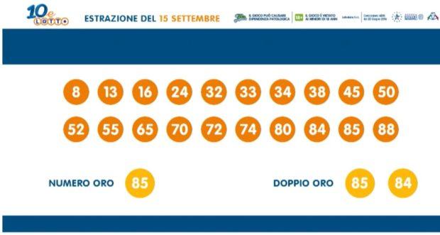 10 e Lotto ogni 5 minuti EXTRA Lottomatica Estrazione del Lotto di oggi martedì 15 settembre 2020 Estrazioni lotto in diretta ventina vincente