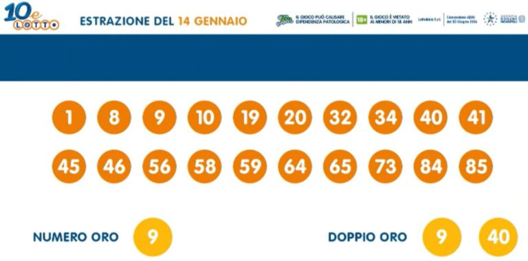 Estrazione lotto 14 gennaio: Superenalotto 10eLotto ...