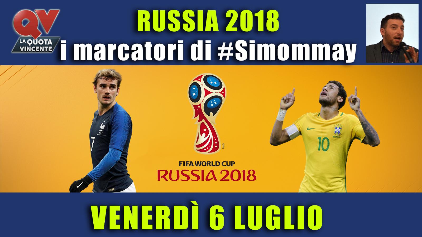 Pronostici marcatori Mondiali 6 luglio: i marcatori di #simommay