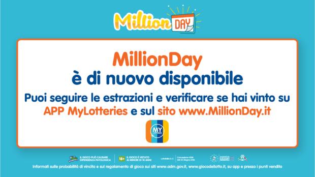 MillionDay estrazione dei 5 numeri vincenti Million Day tutti i giorni alle 19 giochi 1 euro vinci un milione