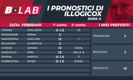 Pronostici illogicox 23/24 Febbraio; con le tabelle di Serie A Serie B Ligue 1 Bundesliga LaLiga Premier League quote betfair goldbet