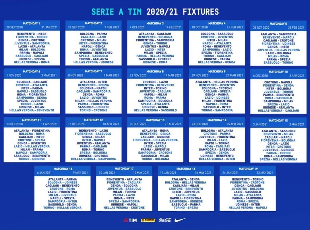 Calendario Serie A 2020 2021, ecco i 19 turni della nuova stagione