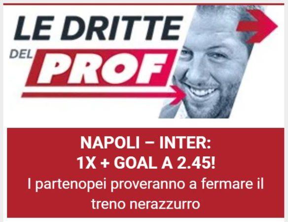 Pronostici calcio oggi Blab Live cassa Prof The Proof la dritta del Prof Serie A Napoli - Inter domenica 18 aprile 2021