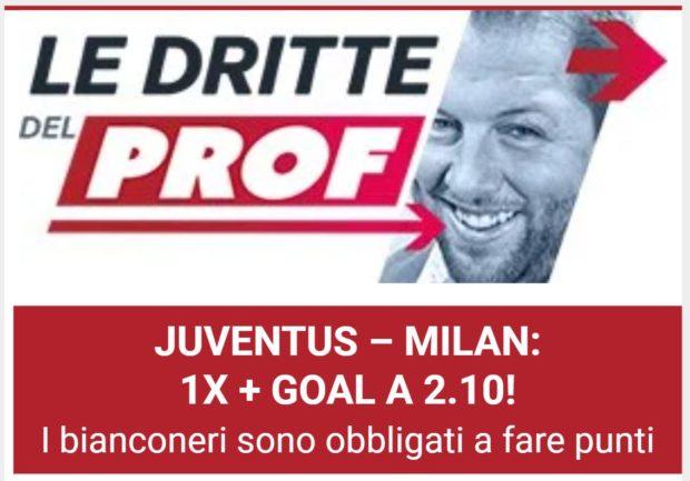 cassa Pronostici calcio oggi Blab Live cassa Prof The Proof la dritta del Prof Serie A pronostico Juventus - Milan domenica 19 settembre 2021