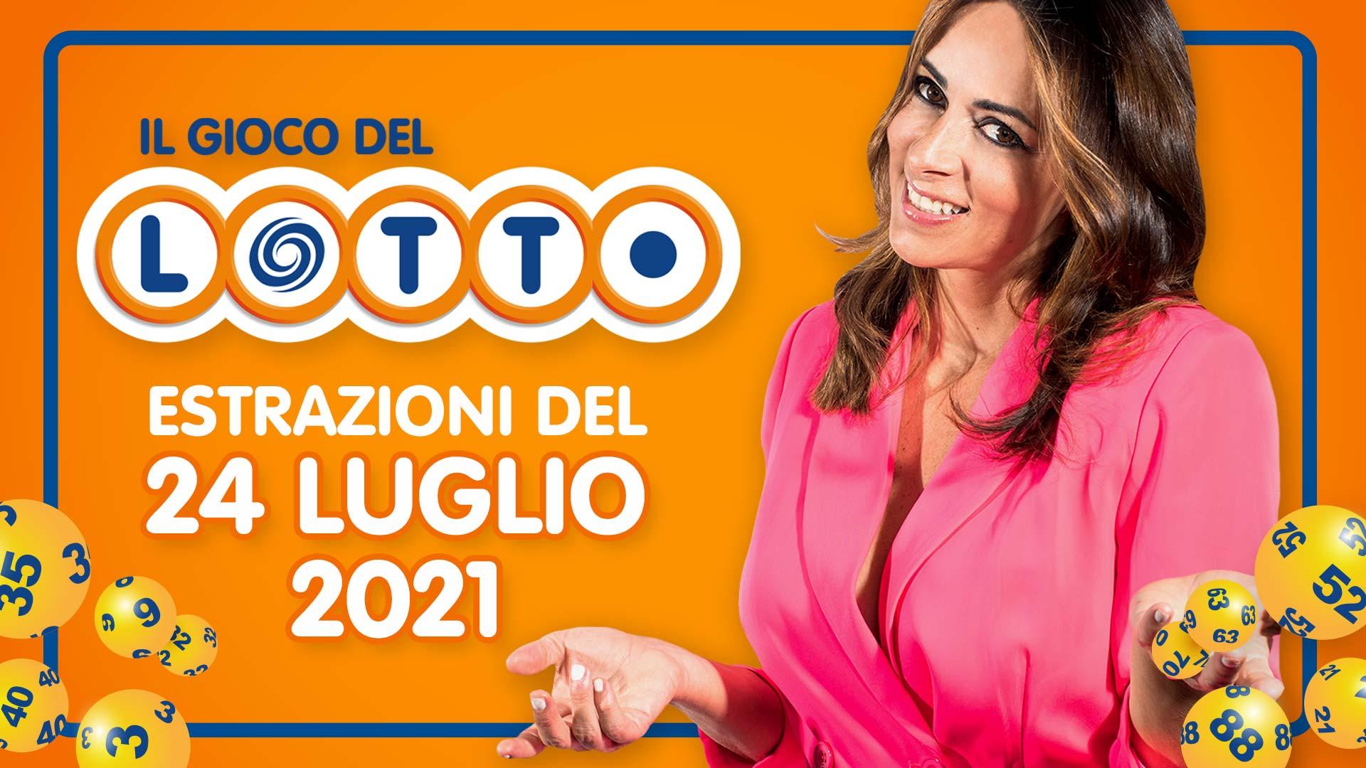 Estrazione lotto 24 luglio 2021 Lotto oggi sabato estrazione vincente superenalotto oggi 10elotto serale simbolotto numeri vincenti ufficiali verifica vincite conduce Serena Garitta in diretta