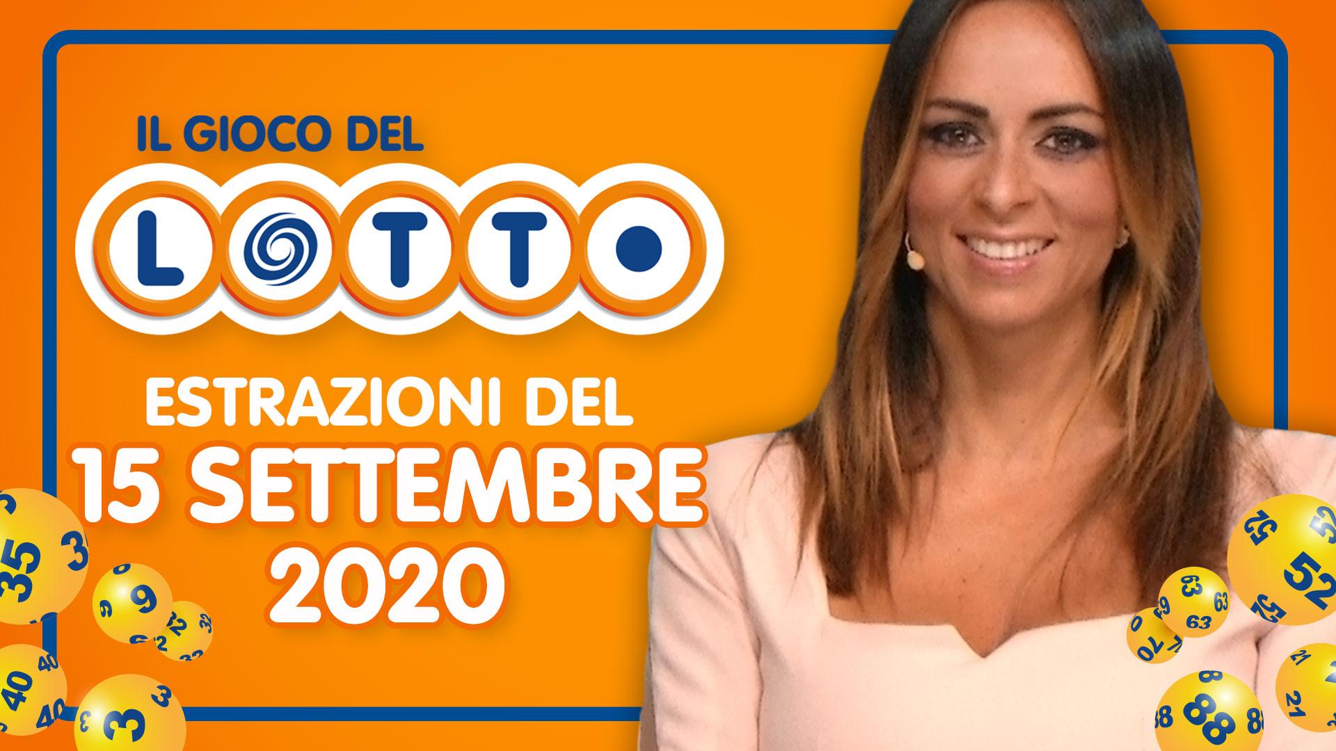 Estrazione Lotto 15 settembre 2020 Estrazioni del Lotto in diretta oggi martedì 10 e lotto ogni 5 minuti EXTRA SuperEnalotto Simbolotto MillionDay Conduce Serena Garitta