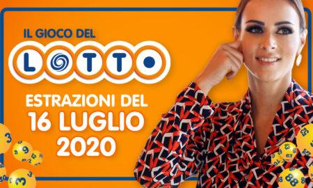 Estrazione lotto 16 luglio 2020 il lotto in diretta conduce Serena Garitta 10 e lotto 5 superenalotto sisal jackpot sei ventina vincente simbolotto ruota nazionale million day cinquina milionario