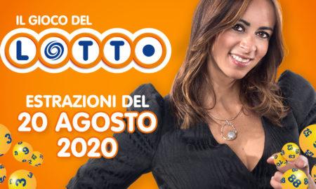 Estrazione lotto 20 agosto giovedì 2020 il lotto in diretta 10 e lotto ogni 5 minuti SuperEnalotto Simbolotto Million Day numeri vincenti conduce Serena Garitta