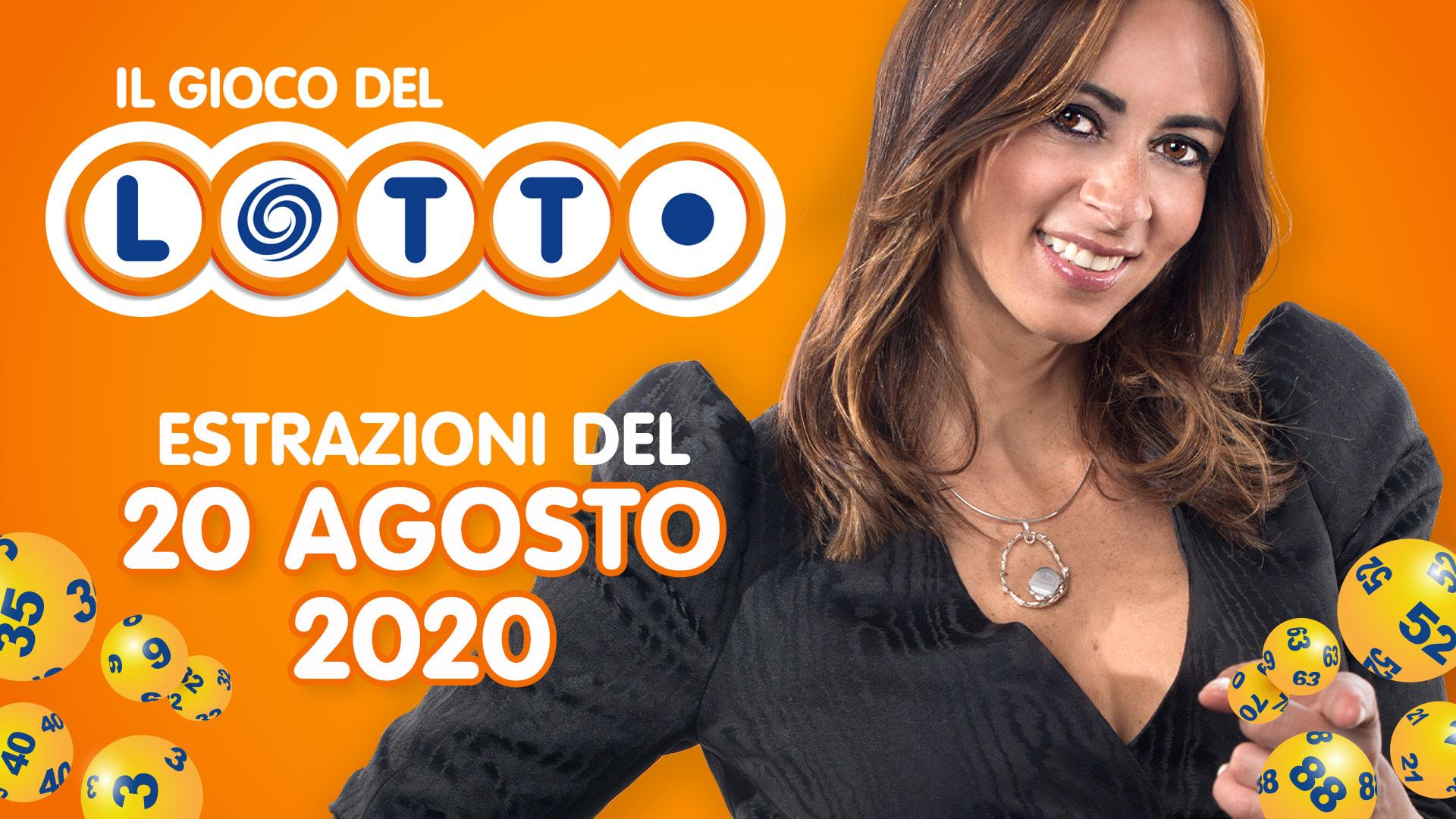Estrazione lotto 20 agosto 2020: 10 e Lotto SuperEnalotto e Simbolotto