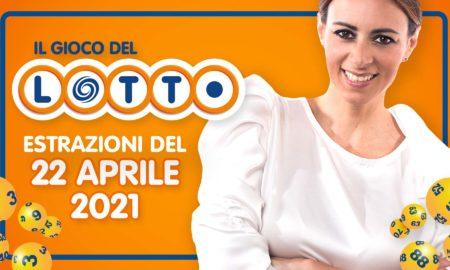Estrazione lotto 22 aprile 2021 Lotto oggi estrazione vincente superenalotto oggi 10elotto serale simbolotto numeri vincenti ufficiali verifica vincite giovedì conduce Serena Garitta