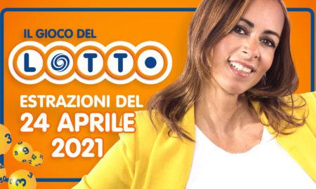 Estrazione lotto 24 aprile 2021 Lotto oggi estrazione vincente superenalotto oggi 10elotto serale simbolotto numeri vincenti ufficiali verifica vincite sabato conduce Serena Garitta
