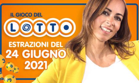 Estrazione lotto 24 giugno 2021 Lotto oggi estrazione vincente superenalotto oggi 10elotto serale simbolotto numeri vincenti ufficiali verifica vincite conduce Serena Garitta in diretta