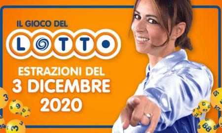 Estrazione lotto 3 dicembre 2020 estrazioni del lotto superenalotto di oggi 10elotto numeri vincenti verifica vincite Simbolotto lotto in diretta Millionday conduce Serena Garitta