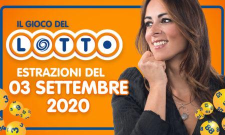 Estrazione Lotto 3 settembre numeri dell'estrazione del Lotto in diretta di oggi giovedì 3 settembre 2020 numeri 10 e lotto SuperEnalotto Simbolotto Million Day conduce Serena Garitta