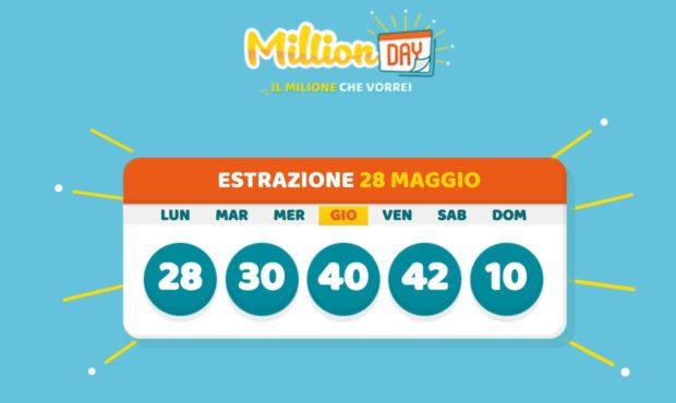 estrazione millionday million day oggi giovedì 28 maggio 2020 cinquina vincente