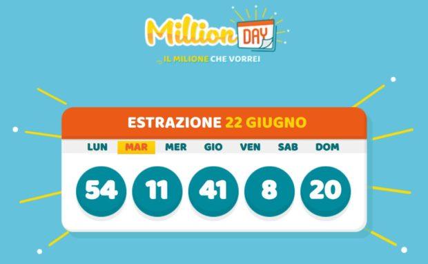 millionday oggi estrazione 22 giugno 2021 lottomatica milionday millionday estrazione di oggi martedì archivio Milion day