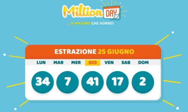 Million day oggi 25 giugno giovedì 2020 cinquina vincente nuovo milionario