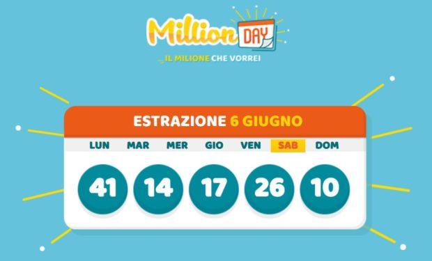 million day estrazione cinquina vincente sabato 6 giugno 2020 millionday
