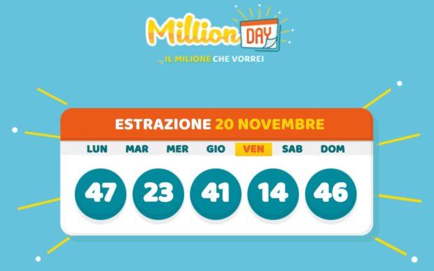 Millionday oggi million day milionario Lottomatica di giovedì 19 novembre 2020