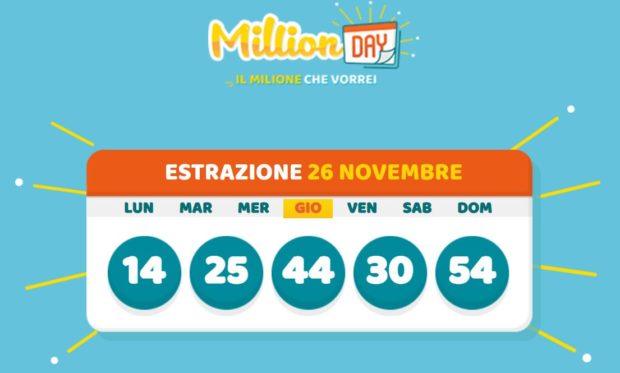 Millionday oggi esrazione millionday in diretta million day milionario verifica vincite oggi giovedì 26 novembre 2020