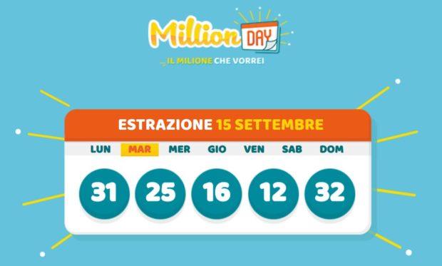 Million DAY estrazione cinquina vincente di oggi martedì 15 settembre 2020 Estrazioni milionario Lottomatica