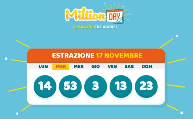 Millionday oggi estrazione million day martedì 17 novembre 2020 cinquina milionario lottomatica