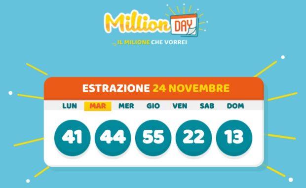 Millionday oggi estrazione million day milionario lottomatica di martedì 24 novembre 2020