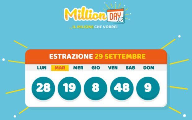 Million Day estrazione del lotto in diretta di oggi martedì 29 settembre 2020 estrazioni million day milionario lottomatica cinquina vincente