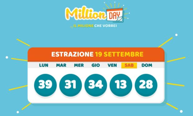 MillionDay Milionario Lottomatica cinquina vincente Million Day di oggi il Gioco del Lotto in diretta di sabato 19 settembre 2020