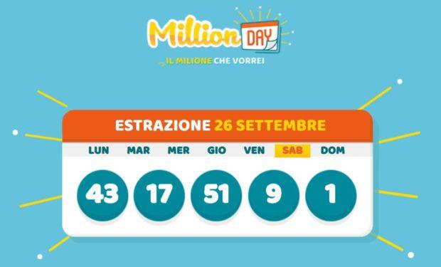 MillionDay cinquina vincente milionario di oggi sabato 26 settembre 2020 verifica vincite Million Day Lottomatica