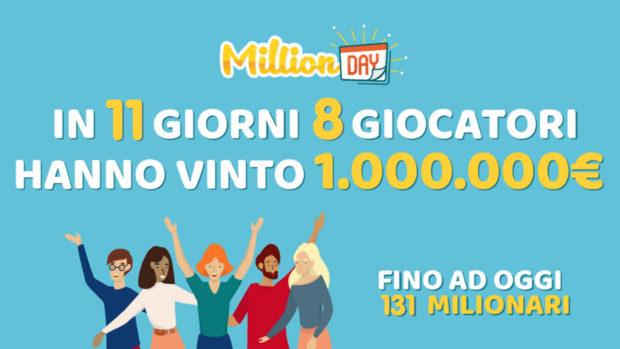 MillionDay record milionari ottobre 2020 8 cinquine vincenti in11 giorni milionario Lottomatica
