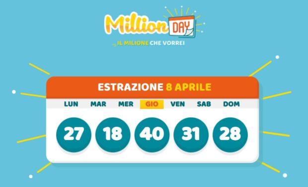 millionday oggi estrazione 8 aprile 2021 lottomatica milionday millionday estrazione di oggi giovedì archivio Milion day