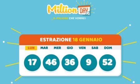 millionday oggi estrazione 18 gennaio 2021 lottomatica milionday millionday estrazione di oggi domenica archivio Milion day