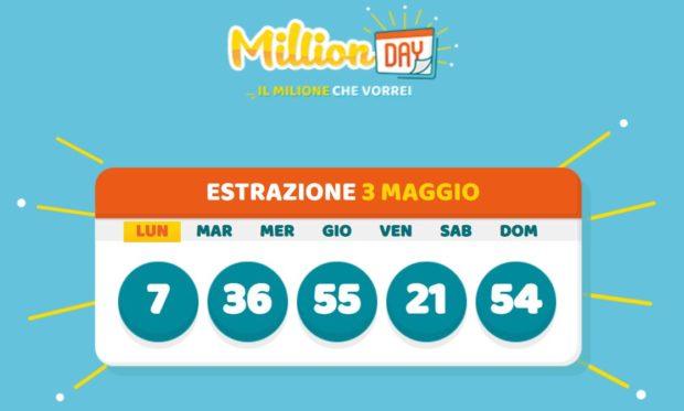 millionday oggi estrazione 3 maggio 2021 lottomatica milionday millionday estrazione di oggi lunedì archivio Milion day