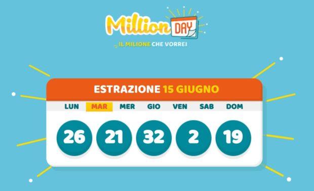 millionday oggi estrazione 15 giugno 2021 lottomatica milionday millionday estrazione di oggi martedì archivio Milion day