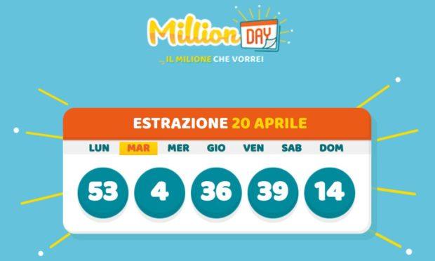 millionday oggi estrazione 20 aprile 2021 lottomatica milionday millionday estrazione di oggi martedì archivio Milion day