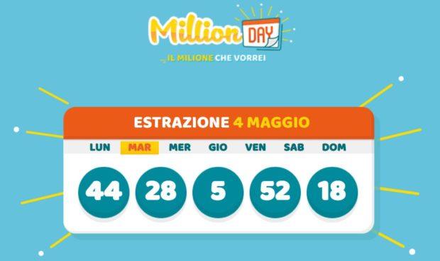millionday oggi estrazione 4 maggio 2021 lottomatica milionday millionday estrazione di oggi martedì archivio Milion day