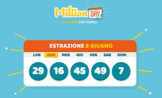 millionday oggi estrazione 8 giugno 2021 lottomatica milionday millionday estrazione di oggi martedì archivio Milion day